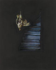 Emma Bennett | Plummet | 2017 | Oil on oak panel | 25x20cm