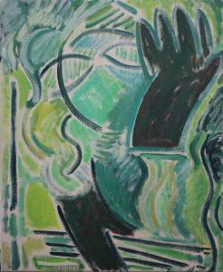 Kiera Bennett | Studio Self Portrait, Green and Black Glove | 2017 | Oil on canvas | 55x45cm