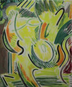 Kiera Bennett | Yellow and Orange Studio Self Portrait | 2017 | Oil on canvas | 55x45cm