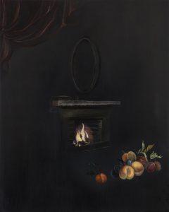 Emma Bennett | The other room | 2018 | Oil on oak panel | 25x20cm