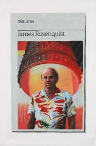 Hugh Mendes | Obituary: James Rosenquist | 2017 | Oil on linen | 30x20cm