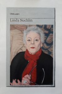 Hugh Mendes | Obituary: Linda Nochlin | 2018 | Oil on linen | 35x25cm