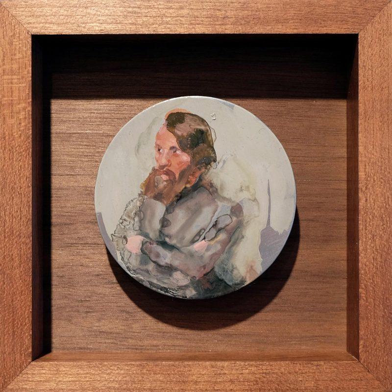 Geraldine Swayne | Grey Suit | 2018 | Enamel-on-aluminium_5cm-diameter