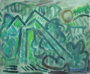 Kiera Bennett | Broken (Ochre Sun) | Oil on canvas board | 2018 | 25x30cm