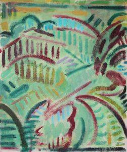 Kiera Bennett | Plein Air (Red Brush) | 2018 | Oil on canvas board | 30x25cm