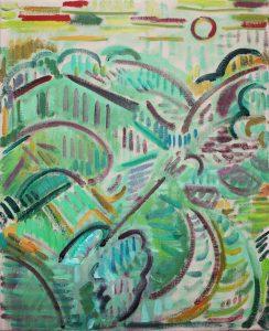 Kiera Bennett | Plein Air (Red Sun) | 2018 | Oil on canvas | 55x45cm