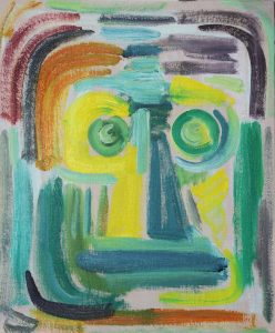 Kiera Bennett | Studio Face Front | 2018 | Oil on canvas board | 30x25cm