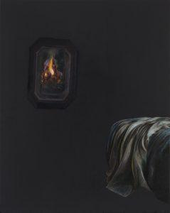 Emma Bennett | On turning away | 2018 | Oil on oak panel | 25x20cm