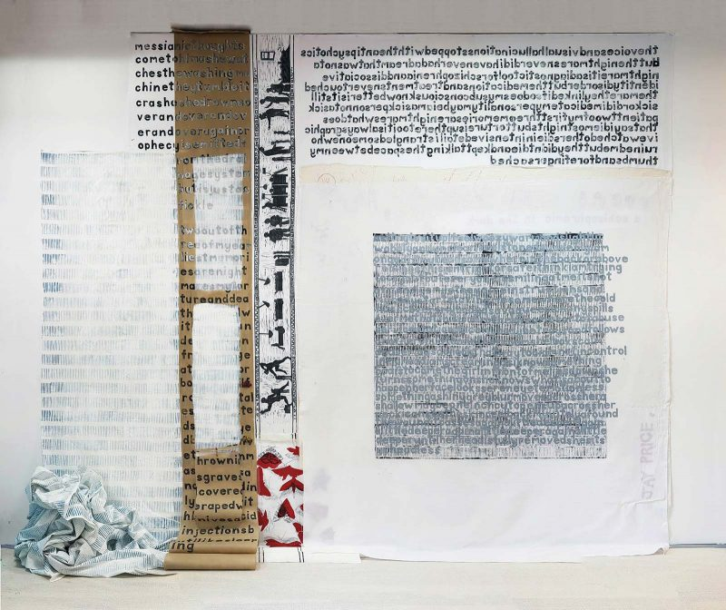 J Price | SITD ['Schizophrenic in the Dark'] 2017 | Hand carved letters printed one at a time, relief carving, clay, textiles, pen, matches, ink | 239x273cm
