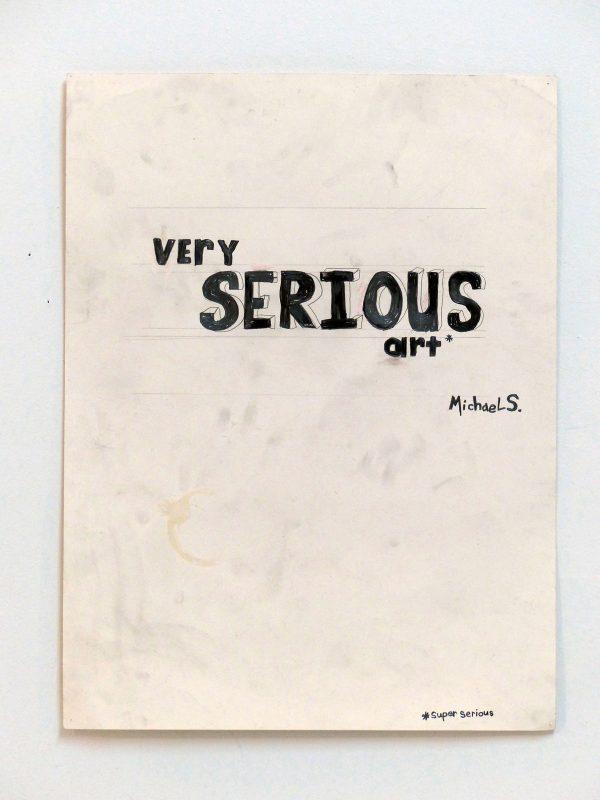 Michael Scoggins | Super Serious | 2014 | Graphite, colored-pencil, coffee-stain, eraser dust on archival-newsprint | 60.1×45.7cm