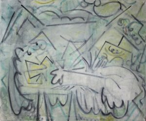 Kiera Bennett | Painter's Hand (Tickler) | 2018 | Oil on canvas | 75x90cm