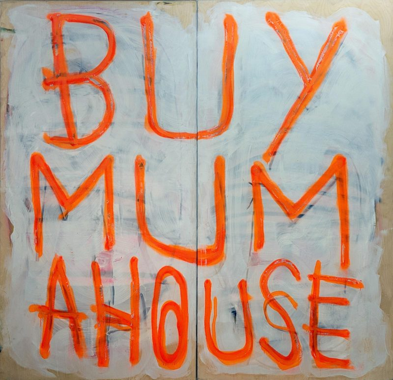 Thomas Langley | Mummy's Boy XXL (orange on white) | 2019 | Oil, spray paint on birch ply | 211x215cm