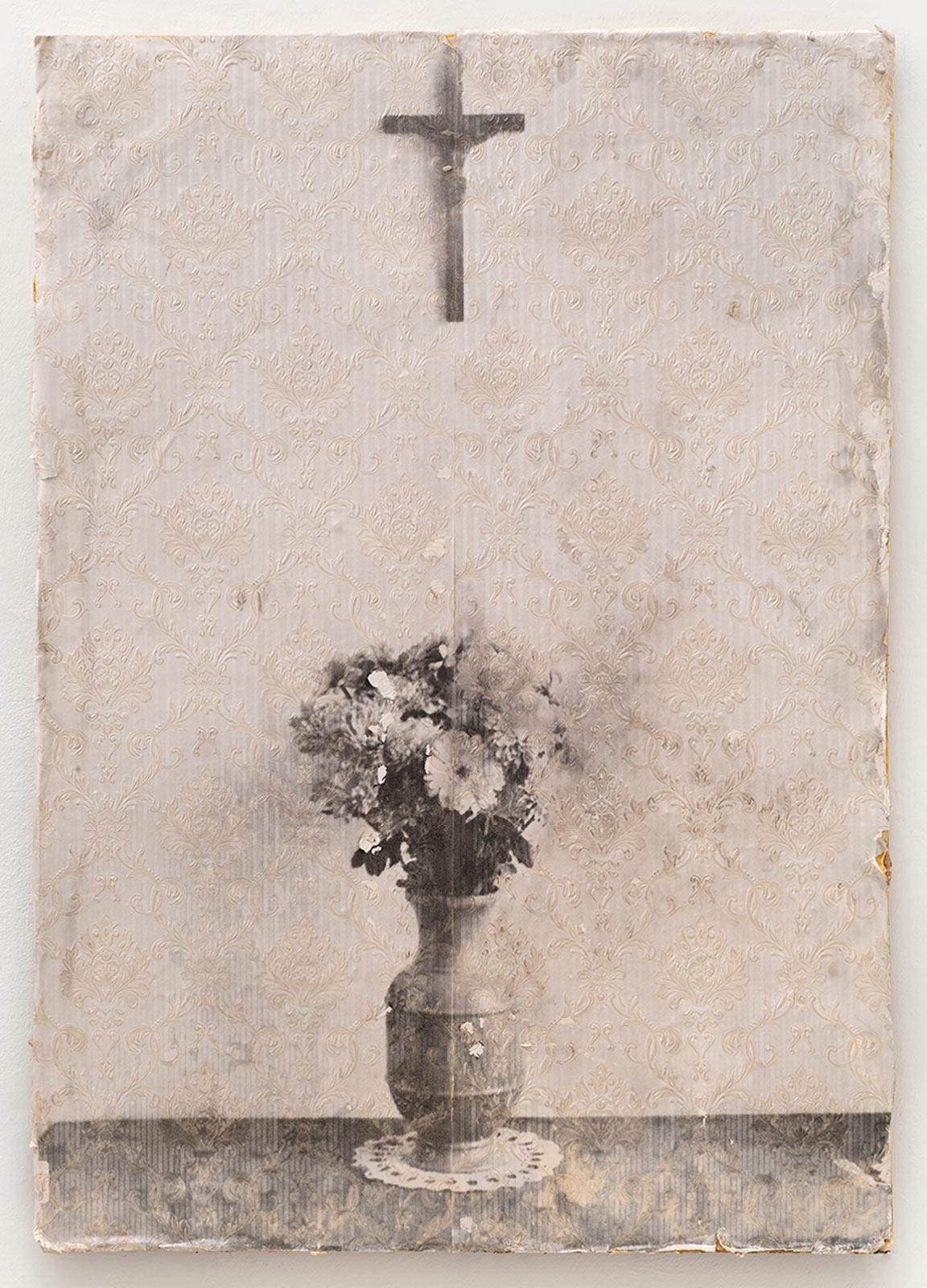 Michael Boffey | Bouquet | 2017 | Mixed media on wallpaper on board | 112x79cm