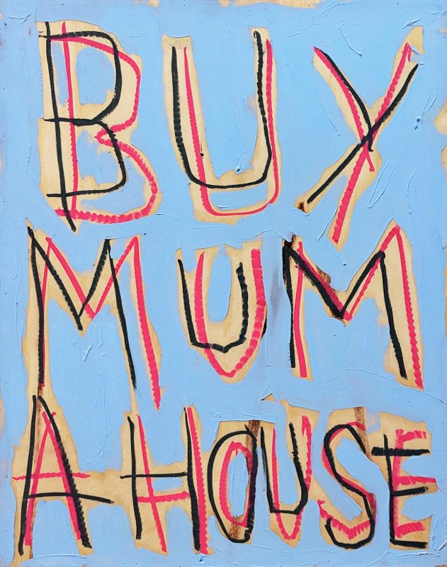 Thomas Langley | Mummy's Boy Small (Sky Blue) | 2018 | Oil & oil bar on birch ply | 51×39.5cm