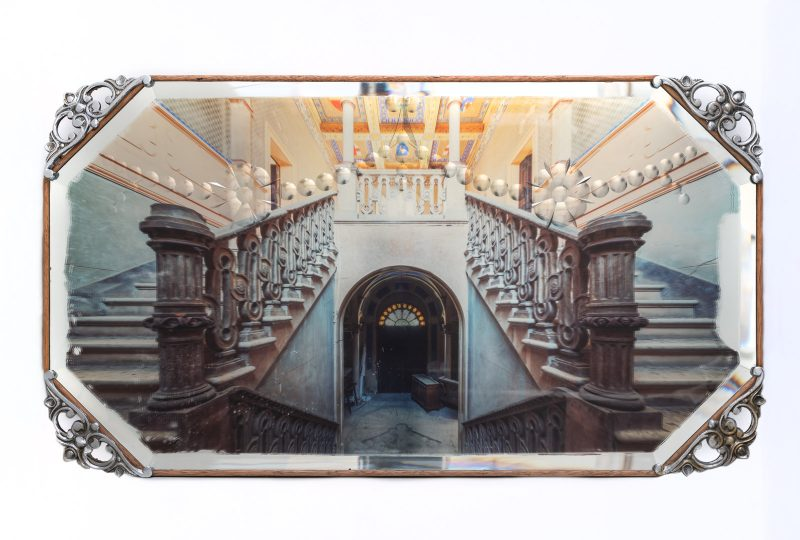 Gina Soden | Italian Staircase on Mirror | 2019 | Photograph hand printed onto antique mirror with acrylic seal | 72x40cm