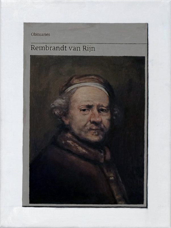 Hugh Mendes | Obituary: Rembrandt Van Rijn | 2019 | Oil on linen | 40x30cm