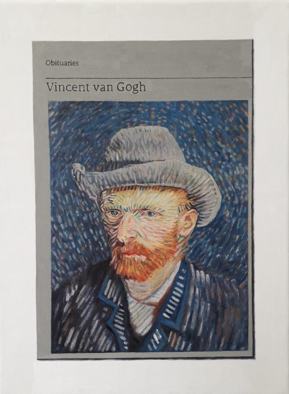 Hugh Mendes | Obituary: Vincent van Gogh | 2019 | Oil on linen | 35x25cm