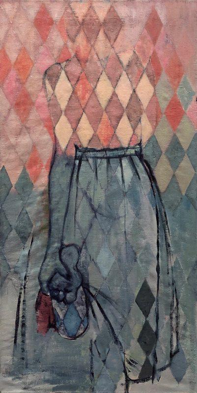Sara Berman | Cinched | 2019 | Oil on vintage linen sheeting | 120x60cm