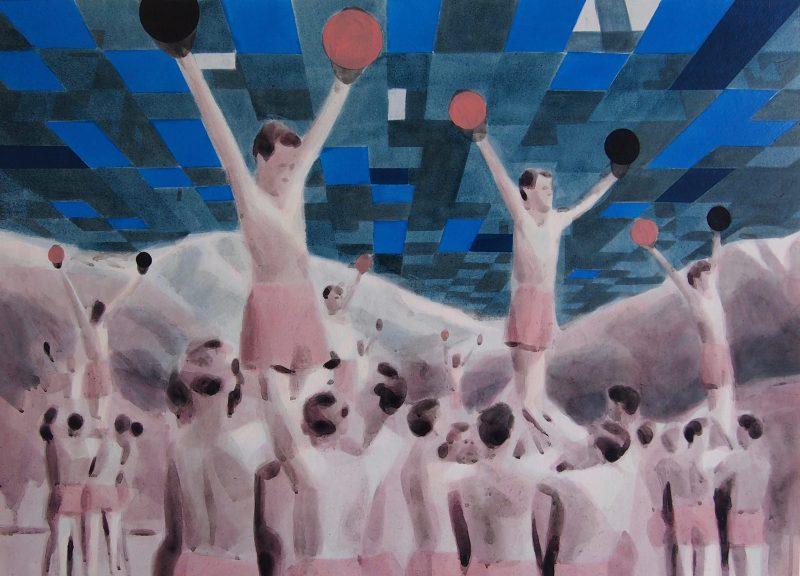 Adam Dix | Reach out and Touch Faith | 2017 | Oil glaze on paper | 50x69cm