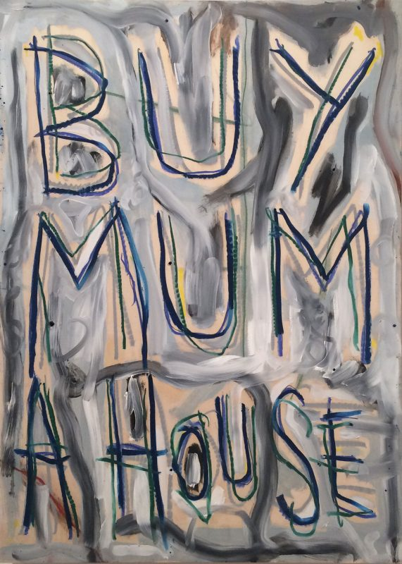 Thomas Langley | Mummy's Boy (Blue) | 2018 | Oil on birch ply | 70x50cm