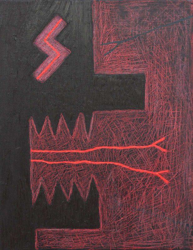 Alex Gene Morrison | Slayer Eye (Black and Red Scratch) | 2018 | Oil on canvas | 45x35cm