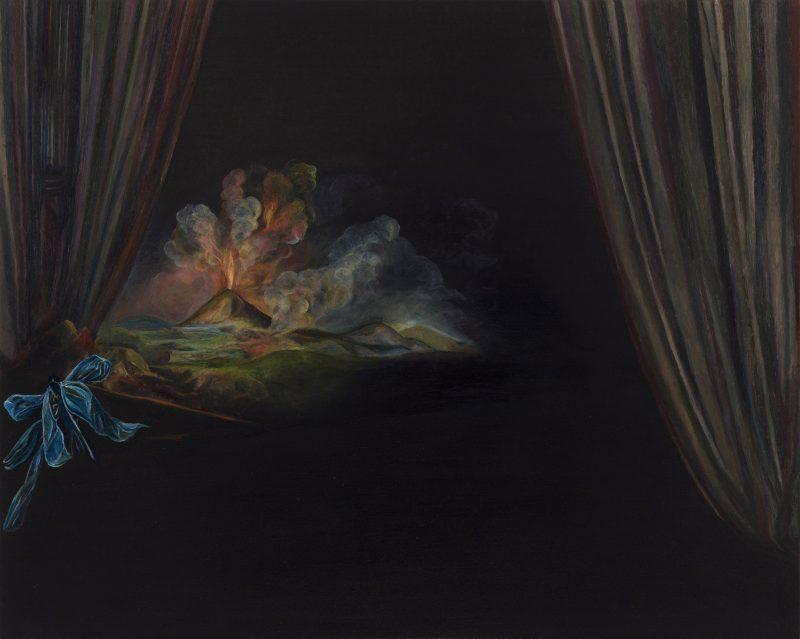 Emma Bennett | A Tremulous Stay | 2019 | Oil on oak panel | 20x25cm