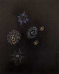 Emma Bennett | Felicity, Faith, Fear | 2019 | Oil on oak panel | 25x20cm