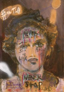 Sam Jackson | Sea of Love | 2019 | Oil, spray paint, marker, pencil on board | 32×22.5cm