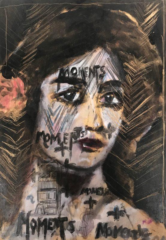 Sam Jackson | Moments | 2020 | Oil, marker on board | 32x22cm
