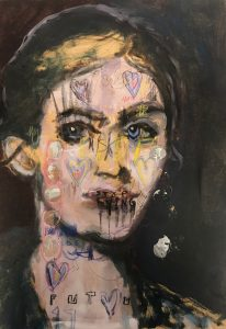 Sam Jackson | Stop Lying | 2020 | Oil, silver, spray paint, pencil on board | 32x22cm