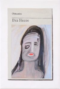 Hugh Mendes | Obituary: Eva Hesse | 2019 | Oil on linen | 30x20cm