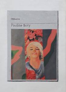 Hugh Mendes | Obituary: Pauline Boty | 2020 | Oil in linen | 35x25cm