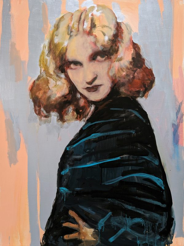 Geraldine Swayne | Girl in faust (pink) | 2019 Oil and acrylic on board | 121x90cm