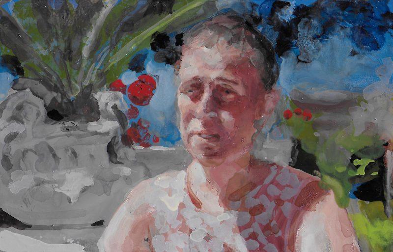 Geraldine Swayne | Bereaved Abroad | 2019 | Enamel on aluminium | 26x31cm (framed)
