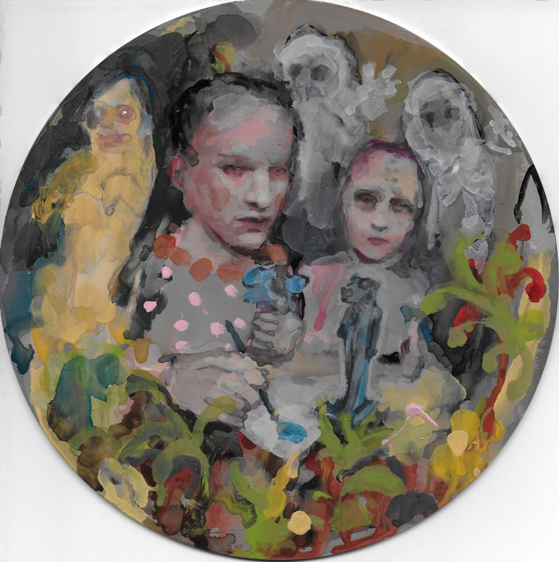 Geraldine Swayne | Monkey See Monkey Do | 2019 | Enamel on aluminium | 20cm diameter