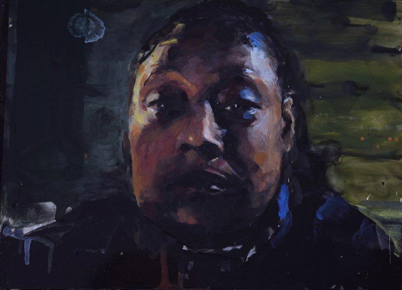 Geraldine Swayne | Woman about to cry (small) | 2020 | Enamel on aluminium | 19x25cm