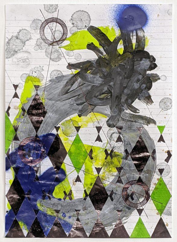 Zavier Ellis | Constellations III | 2020 | Oil, acrylic, spray paint, marker, biro, pencil on paper | 29.7x21cm