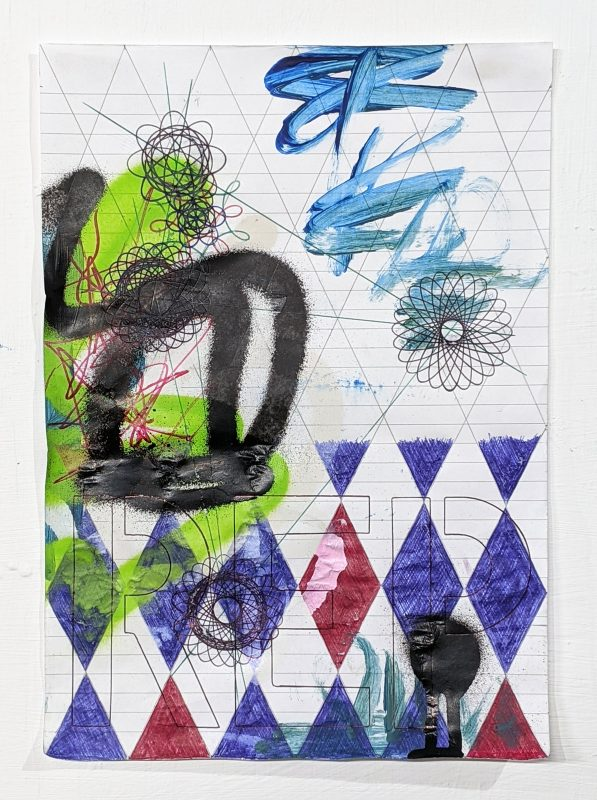 Zavier Ellis | Revolt Repeat I | 2020 | Acrylic, spray paint, biro, pencil on paper | 29.7x21cm