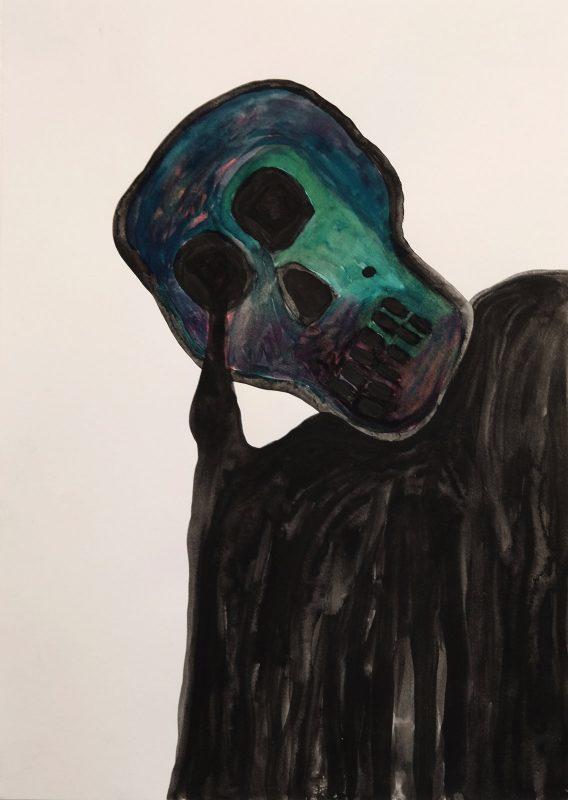 Alex Gene Morrison | Melting Skull | 2015 | Ink on paper | 29.7x21cm