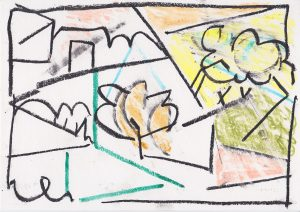 Kiera Bennett | Outside | 2020 | Oil pastel on paper | 21×29.7cm