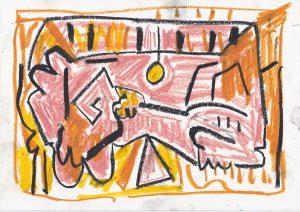 Kiera Bennett | Studio 2 | 2020 | Oil pastel on paper | 21×29.7cm