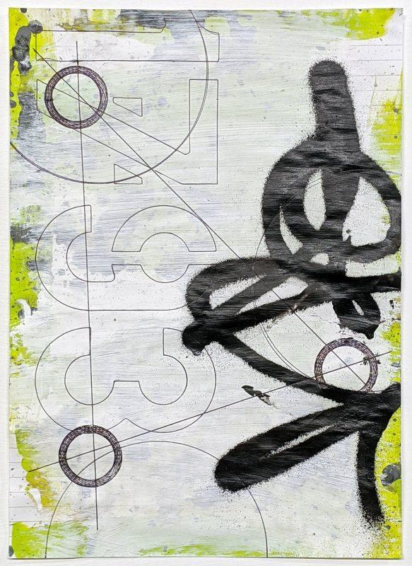 Zavier Ellis | Revolutions VI | 2020 | Acrylic, emulsion, spray paint, biro on paper | 29.7x21cm
