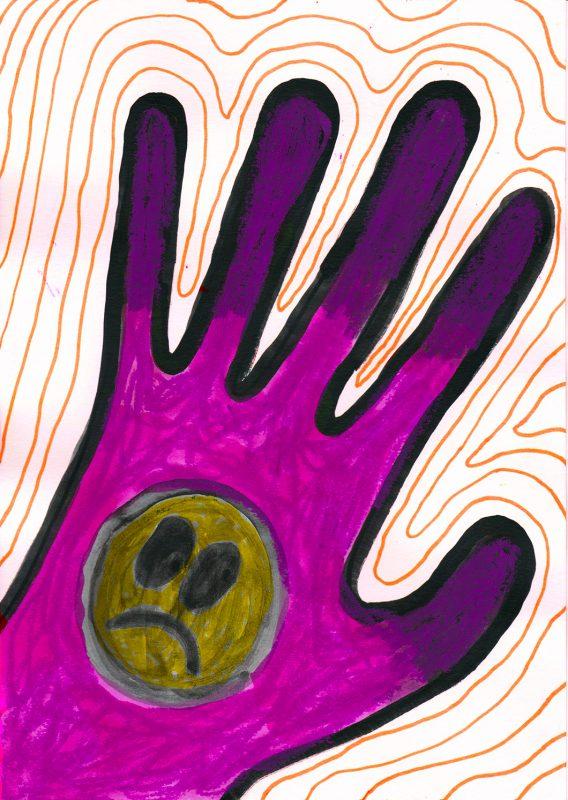 Alex Gene Morrison | Bad Feels | 2020 | Ink, watercolour, marker pen, oil pastel on paper | 29.7x21cm