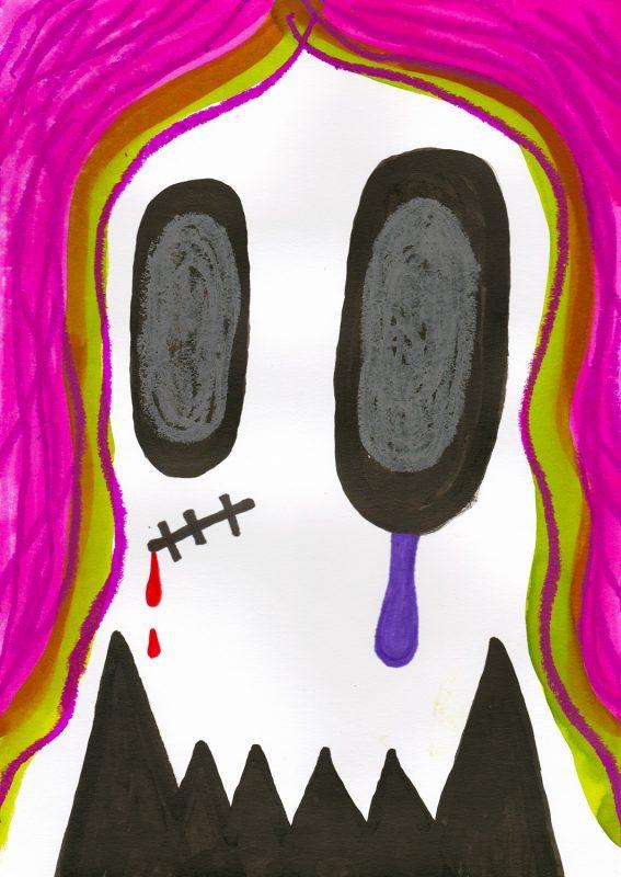 Alex Gene Morrison | Pink Ghoul | 2020 | Ink, watercolour, marker pen, oil pastel on paper | 29.7x21cm