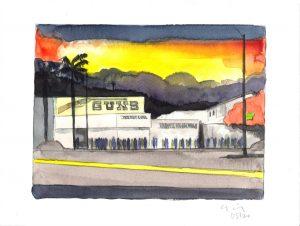 David Risley | Gun Store 4 | 2020 | Watercolour on Fabriano paper | 23x31cm