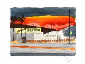 David Risley | Gun Store 6 | 2020 | Watercolour on Fabriano paper | 23x31cm