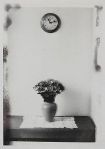 Michael Boffey | Double exposure, Still Life With Clock | 2020 | Silver gelatin print on watercolour paper | 29.7x21cm