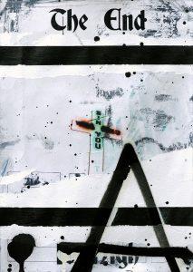Zavier Ellis | The End (Sin) I | 2020 | Acrylic, spray paint, biro on digital gloss print | 29.7x21cm