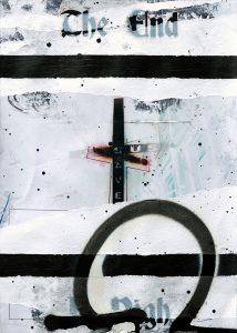 Zavier Ellis | The End (Sin Saves) I | 2020 | Acrylic, spray paint, biro on double printed digital gloss print | 29.7x21cm