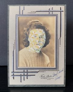 Tom Butler | Anne | 2020 | Gouache on freestanding vintage yearbook photograph | 16.5×11.5×7.6cm